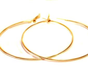 LARGE 4 inch HOOP EARRINGS 14kt Gold Plated Hoop Earrings Hypo-Allergenic Hoop Earrings