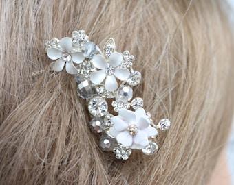 Flower and Rhinestone Bridal Comb/ Hair Jewelry