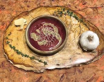 Red Handmade Ceramic Garlic Grater // Garlic Grater // Servingware // Bread Dipper // Dish // Garlic Dish // Garlic and Oil Dish