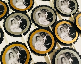 Custom photo cupcake toppers for silver or golden anniversary