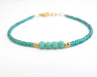 Turquoise Bracelet, Blue Green Seed Bead Bracelet, Friendship Bracelet, Summer Jewelry, Yoga Bracelet, Turquoise Bridesmaid, Blue Wedding