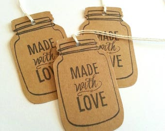 Made with Love tags, Favor tags, Gift tags, Jar tags, Made with Love gift tags, Hang tags, Set of 15