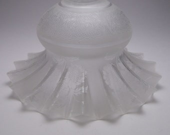Antique Victorian acid etched frosted glass light shade E41
