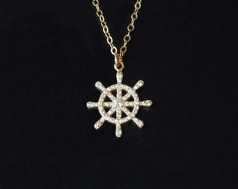 Ships Wheel Necklace, Lariat Necklace, Gold Ship Wheel, Nautical Necklace, Star necklace, Summer Jewelr