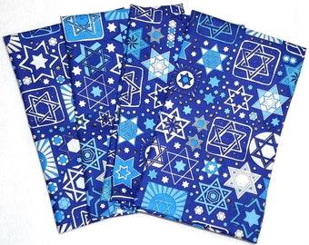 Jewish Napkins - Tossed Stars Fabric in Navy (4pk)