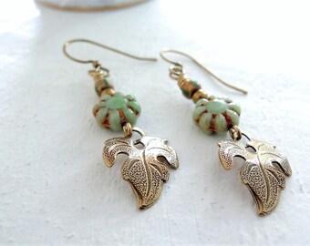 Tropical Leaf Dangle Earrings Monstera Leaf Earrings Gift for Plant Lover Green Czech Glass Flower Earrings Brass Botanical Leaf Earrings
