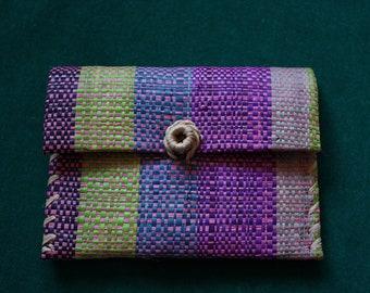 Multicolored Woven Raffia/Straw Wallet/ Change Purse 1970s
