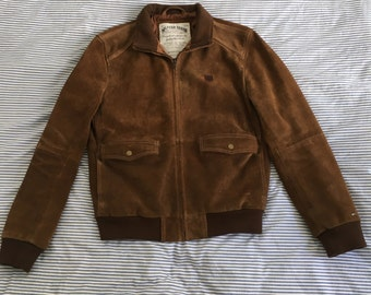 Tommy Hilfiger Nubuck Leather Dark Brown Mid Length Jacket