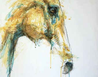 Acrylic Painting of a Horse Head, Contemporary Original Fine Art, Figurative Art, Animal Art, Equine Artist