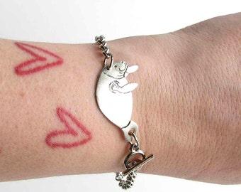 silver manatee bracelet - sea cow