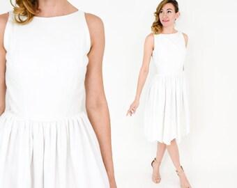 50s White Sleeveless Dress | White Eyelet Cotton Dress | Jonathan Logan | Small