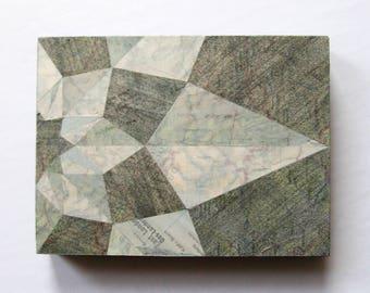 Compass Rose No17 - Original Map Paper Collage on Wood Cradle Panel - Mixed Media Art - Map Art Tile - World Travel Decor - Wanderlust Decor