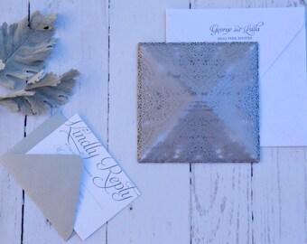 Laser Cut Square Lace Design Wedding Invitations - Invitation Suite - Custom Handmade Invitations - Laser Cut Diamond Fold Invitation