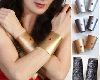 Wonder Woman wrist cuffs. Gauntlets. 4 styles. Made in USA