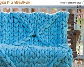 Chunky Knit Blanket, Arm Knit Throw, Wool Blanket,Queen size balanket, Merino Wool Blanket,Handmade