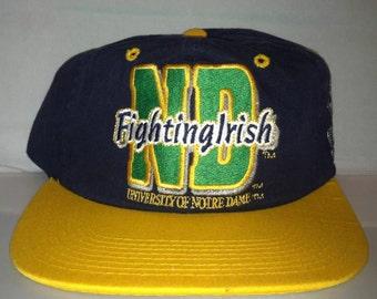 Vintage Notre Dame Fighting Irish Strapback dad hat cap new deadstock 90s NCAA College Football rudy