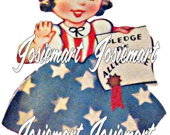 Vintage Digital Download Patriot Girl Image July 4th Collage Large JPG PNG