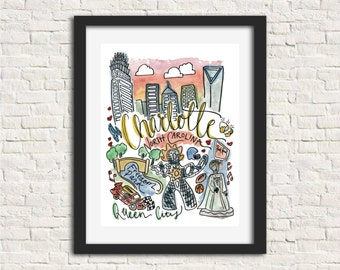 Charlotte, North Carolina Handlettered Watercolor 8x10 in Wall Art Print Gift