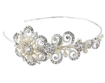 Luxury Crystal & Ivory Pearl Bridal Tiara, bridal hair accessories, bridal hair jewellery