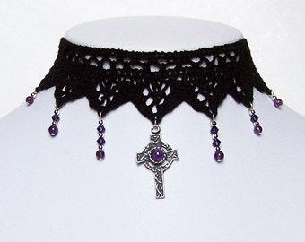 Gothic cross lace choker necklace Amethyst purple with Swarovski cascade - IMMORTAL