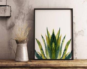 Abstract Aloe Vera - Limited Watercolour print