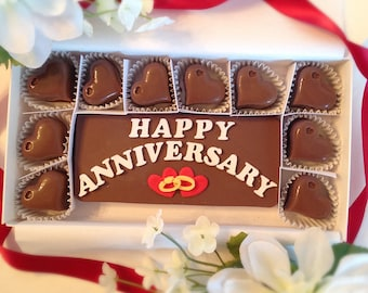 Wedding Anniversary Chocolates - Anniversary Candy - Anniversary Gifts for Couples - Golden, Silver Anniversary -  Happy Anniversary
