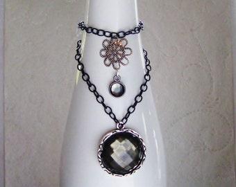 Silver/Black Faceted Rhinestone Wine Bottle Decor, Wine Bottle Jewelry, Wine Charm, Holiday Decor, Wine & Spirits, Hostess Gift