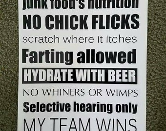Man Cave Rules : Man cave rules etsy