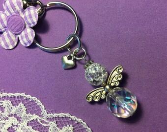 Guardian Angel Key Ring, Crystal Guardian Angel Key Ring Clip Charm