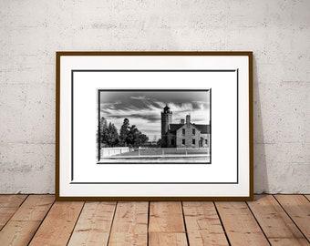 Mackinac Lighthouse-Black & White Print-Michigan Lighthouse-Lighthouse Print-20x30 Print-Horizontal Print-Mackinac Bridge-Old Mac Lighthouse