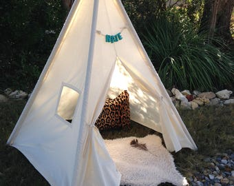 3, 4 & 5 pole teepee, add your own poles or order  wood poles in separate  listing and I will assemble. FREE MONOGRAMMED NAME