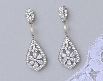 Bridal Chandelier Earrings, Crystal Bridal Earrings, Silver Bridal Jewelry, Vintage Wedding Earrings, PAIGE P