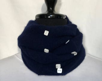 Royal Navy Blue Infinity Cashmere Wool Scarf made from an Upcycled Sweater
