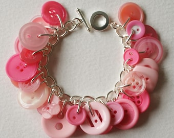 Button Charm Bracelet Sweet Treat Pink Candy
