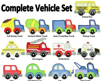 Complete Vehicle Set Applique Machine Embroidery Design boy dump, tow, fire truck, police car construction INSTANT DOWNLOAD