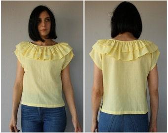 1970s Blouse | 70s Blouse | Yellow Cotton Blouse | 70s Summer Blouse | Peasant Blouse | Vintage Cropped Top | Cropped Blouse