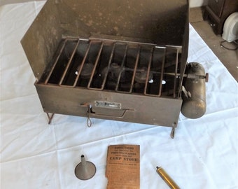 Antique Prentiss-Wabers Auto-Cook-Kit No. 8 Gasoline Camp Cook Stove, Complete with Instructions
