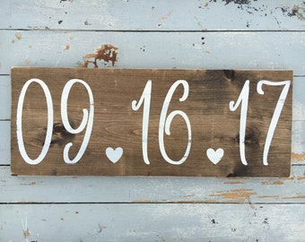 Date sign | wedding date sign | special date sign | wedding sign | photo prop sign | wooden sign | handmade sign | rustic wedding sign |