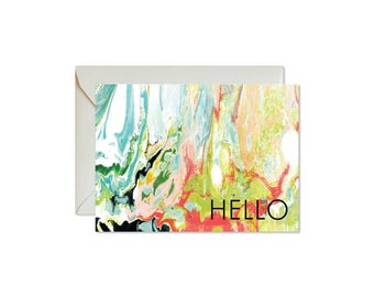 HELLO Wild Marble Notecards + Envelopes Pack   Boxed Set (8)   Abstract   Modern   Fresh