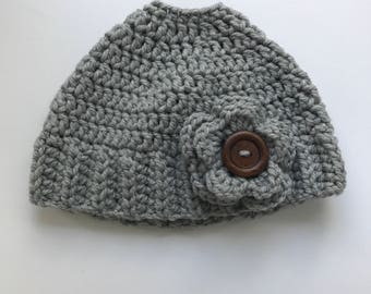Messy Bun Beanie, Messy Bun Hat, Ponytail Hat, Grey Messy Bun Hat, Flower Messy Bun Hat, Women's Messy Bun Hat, Gifts for Her, Grey