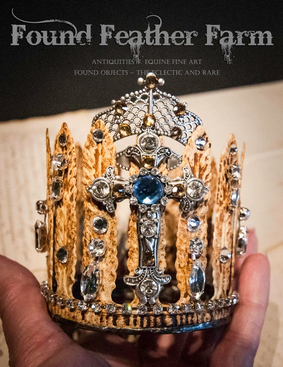 Handmade Embellished Rusted Creme Acanthus Tin Crown with Crystal Cross and Silver Crown