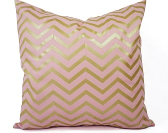 Two Metallic Gold Pillow Covers - Pink and Gold Pillow Cover - Decorative Pillow - Chevron Pillows - Nursery Pillow - 16x16 18x18 20x20