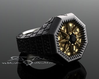 North star compass rose black diamond ring. Urban explorer, bricks, city dweller. Black Silver and aged gold heavy fashion mens signet style