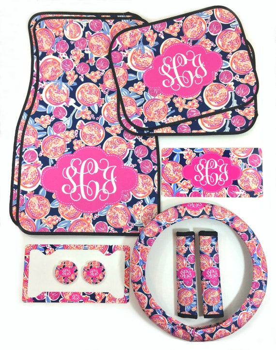 Monogrammed Car Accessories Set Car Floor Mats Steering Wheel Cover & Seat Belt Covers, License Plate and Frame Car Coasters Pomegranate