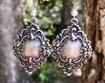 Green Earrings, Silver Earrings, Gunmetal Earrings, Bohemian Earrings, Victorian Earrings, Rustic Earrings, Boho Earrings, Ethnic Earrings