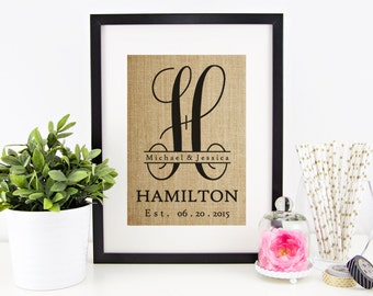 Burlap Monogram | Just Married Gift | Mr and Mrs Established Sign | Personalized Gift for Mom, Newlyweds, Grandparents, Parents, Inlaws