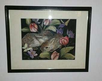 Vintage framed pastel bunny, rabbit floral. Nursery art.