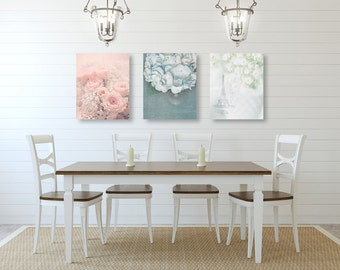 shabby chic wall art shabby chic decor set of three prints or canvases - Shabby Chic Wall Decor