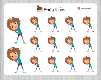 Stretching Stickers, Fitness Stickers, Stacy Stickers
