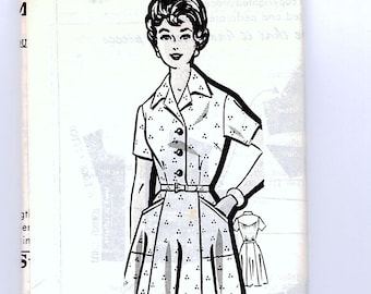 Plus Size Dress Pattern Womens Half Size 24.5, 45 inch Bust Shirtwaist Dress with Pockets Vintage Sewing Pattern UNCUT